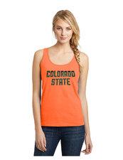 CSU Ladies Carefree Juniors Neon Orange Tank